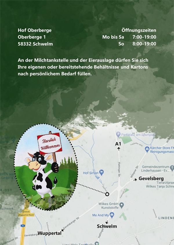 Flyerseite 2 - Logo Hof Oberberge mit Angaben zu frischen Eiern und frischer Milch auf einem weiß-grünen Hintergrund